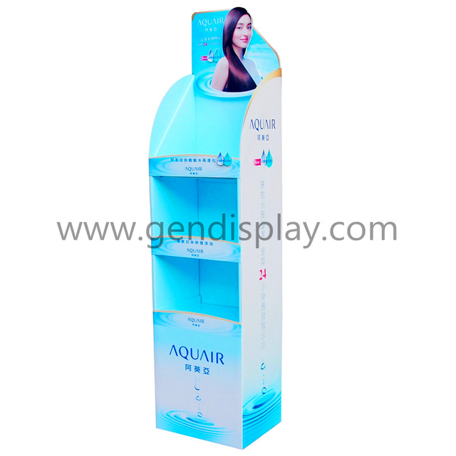 Cardboard Make Up Floor Display Stand, POS Cosmetic Floor Display Shelf(GEN-FD290)