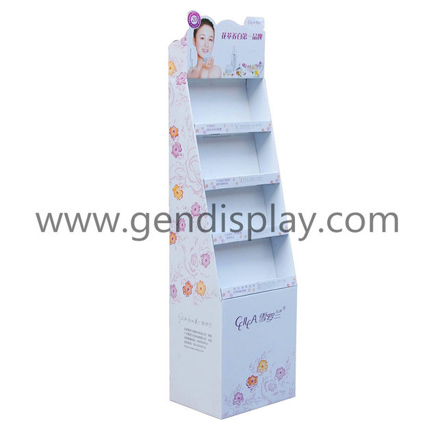 POS Corrugated Cosmetic Display, Cardboard Cosmetic Floor Display (GEN-FD177)