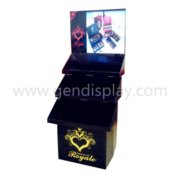 Cardboard Corrugated Paper Floor Display Stand For Gift Promotion (GEN-FD052)