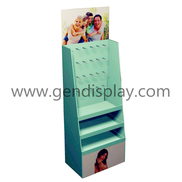 Customized Cardboard Hooks Display For Cosmetic , Cosmetic Hooks Display Stand (GEN-HD049)