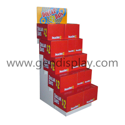 Corrugated Trapeziform Display Shelf , Cardboard Floor Display(GEN-FD051)