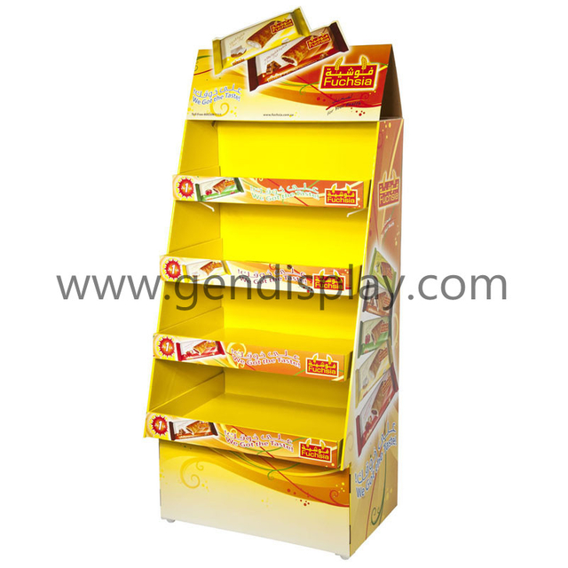 Retial Cardboard Floor Display Stand For Snacks Promotion (GEN-FD125)