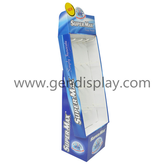Promotional Cardboard Hooks Floor Display Stand (GEN-HD041)