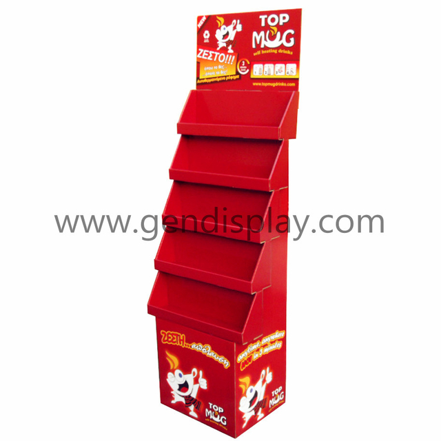 Cardboard Floor Drinks Display, Retail POP Beverage Display Stand (GEN-FD181)