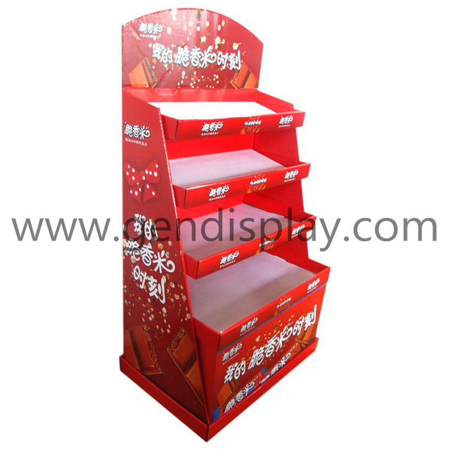 Pos Snacks Cardboard Display Shelf, Foods Display Stand (GEN-FD089)