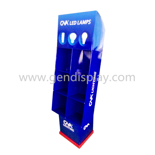 Cardboard Compartments Floor Display Stand For Led Lights Promotion (GEN-CP011)